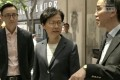 Hong Kong Chief Executive Carrie Lam visits Central MTR station a day after anti-government protesters vandalised it. Photo: RTHK