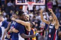 French players celebrate defeating the US in their Fiba Basketball World Cup quarter-final clash. Photo: EPA
