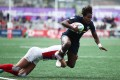 Naya Tapper scores for the Americans at the Langford Sevens in Canada in May. Photo: Mike Lee - KLC fotos for World Rugby