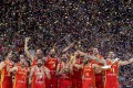 Spain celebrate during the trophy presentation after the final win over Argentina at the 2019 Fiba Basketball World Cup in Beijing, China. Photo: Xinhua