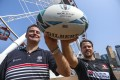 Hong Kong Rugby Union chief executive officer Robbie McRobbie and Hong Kong national team member Matthew Rosslee at the Hong Kong Observation Wheel in Central where the fanzone will take place. Photo: Tory Ho