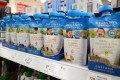 Bellamy's baby food packages in different flavours on supermarket shelf. Photo: Shutterstock
