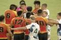 China and Hong Kong players square up. Photos: Facebook/Hong Kong Rugby Union