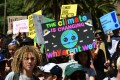 Young protesters march in California as part of a global protest. Photo: AFP
