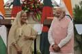 Indian Prime Minister Narendra Modi and his Bangladeshi counterpart Sheikh Hasina share a laugh in 2017. Photo: AP