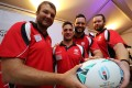 Nick Hewson, Tyler Spitz, Conor Hartley and Andrew Hall said the Rugby World Cup has given them lots of chew on as players looking to make the next final in France four years down the road. Photo: Edward Wong