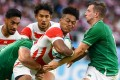 Japan wing Kotaro Matsushima (centre) in action against Ireland in the pool A match at the Rugby World Cup in Shizuoka. Photo: AFP