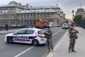 Soldiers standing guard near the Paris police headquarters after a knife attack. Photo: Xinhua