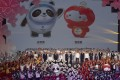 Beijing 2022 Winter Olympic Mascot Bing Dwen Dwen, left, and 2022 Winter Paralympic Games mascot, Shuey Rong Rong, are revealed during a ceremony in Beijing on September 17, 2019. Photo: AP