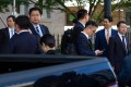 Members of the Chinese delegation wait to leave after deputy-level trade talks between China and the US in Washington on September 19. Photo: AFP