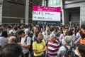 Commuters form a long queue to enter Tiu Keng Leng MTR station on its reopening on October 8. Photo: Winson Wong