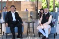 Indian Prime Minister Narendra Modi and Chinese President Xi Jinping during their meeting in Mamallapuram, Chennai. Photo: EPA