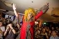 Drag queen Becca D'Bus in suitably riotous attire at Riot!, the monthly drag queen show she hosts in Singapore.