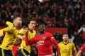 Manchester United defender Axel Tuanzebe (centre) has impressed this season. Photo: AFP