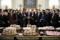 Trump speaks from behind a table of fast food. Author Deepak Chopra, who has published his 90th book, says the US president could help the world by changing his diet. Photo: Oliver Contreras/Pool via Bloomberg