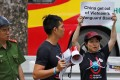 An anti-China protest outside its embassy in Hanoi in August. Photo: Reuters