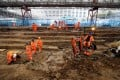 Field archaeologists work on the excavation of a late 18th to mid 19th century cemetery under St James Gardens near Euston railway station in London in November 2018. Photo: AFP