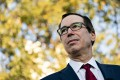 US Treasury Secretary Steven Mnuchin listens to a question from the media outside the White House on Monday. Photo: Bloomberg
