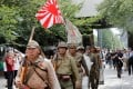 Men wearing Japanese imperial military uniforms visit the Yasukuni Shrine in Tokyo on August 15 for the 74th anniversary of their nation's surrender in World War Two. Photo: Reuters