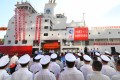 A ceremony is held for the maiden voyage of China's home-built polar icebreaker Xuelong II in Shenzhen, Guangdong province. Photo: Xinhua