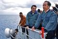 Indonesian President Joko Widodo (right) on board a warship to the Natuna Islands in the South China Sea next to minister Luhut B. Pandjaitan. Photo: Indonesian President Office