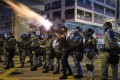 Police fire tear gas during a pro-democracy march on the 20th successive weekend of protests in Hong Kong. Photo: AFP