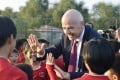 Fifa's Gianni Infantino visits a football school in Pyongyang, North Korea. Photo: Kyodo