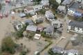 A flooded residential area in Sakura, Chiba prefecture. Photo: Kyodo via Reuters