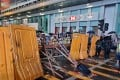 Anti-government protesters set up a catapult and barricade near an HSBC branch in Hong Kong's Mong Kok district in this photo from October 6. Photo: Handout