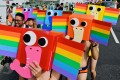More than 200,000 people took part in this year's pride march in Taipei, the organisers said. Photo: AFP