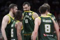 Andrew Bogut of Australia (centre) reacts during their Fiba World Cup semi-final match against Spain in Beijing. Photo: AP