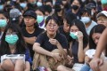 Students at the Chinese University of Hong Kong get emotional after a rally on October 3 in support of arrested students. Photo: Xiaomei Chen