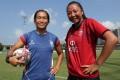 Hong Kong women's rugby sevens team captain Melody Li Nim-yan and potential teammate Chloe Chan. Photo: Edmond So