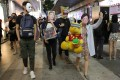Anti-government protesters march in Causeway Bay on October 31, as Halloween celebrations are marked by clashes with police. Photo: May Tse