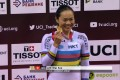 Sarah Lee with her World Cup sprint gold medal in Minsk, Belarus. Photo: UCI