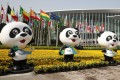 A line of mascots at the National Exhibition and Convention Centre in Shanghai, the venue of the second China International Import Expo. More American companies are expected than there was at last year's event and President Xi Jinping will be keynote speaker. Photo: Xinhua