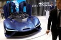 The EP9, a premium electric supercar made by Nio, is displayed at the Auto China 2018 motor show in Beijing on April 25, 2018. Photo: Reuters