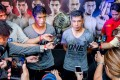 Eduard Folayang and Geje Eustaquiao of Team Lakay speak to the media at their open workout in Manila. Photo: One Championship