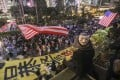 Anti-government protesters wave American flags during their rally at Chater Garden in Central on October 26. Photo: Xiaomei Chen