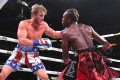 Logan Paul (left) and KSI exchange punches in their fight at Staples Centre, Los Angeles. Photo: APF