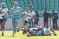 Hong Kong's Chong Ka-yan breaks away against Kazakhstan. Photos: HKRU