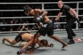 Sage Northcutt hits the canvas during his fight against Brazilian veteran Cosmo Alexandre at One Championship in Singapore. Photo: One Championship