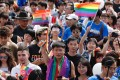 People participate in the annual Pride parade in Taipei, Taiwan last month. In May, Taiwan became the first Asian jurisdiction to legalist same-sex marriage, adding to its appeal for LGBT visitors from elsewhere in Asia. Photo: EPA-EFE