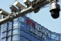 Surveillance cameras are seen near the headquarters of Hikvision Digital Technology, the world's biggest supplier of video surveillance systems, in Hangzhou, capital of eastern China's Zhejiang province. Photo: Reuters
