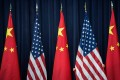 US and Chinese flags in Washington. Photo: AFP