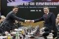US Defense Secretary Mark Esper and South Korean Defence Minister Jeong Kyeong-doo in Seoul on November 15. Photo: AP