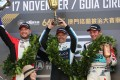 Andy Priualx (centre) tops the podium ahead of Rob Huff (left) and Jean-Karl Vernay (right) at the Macau Grand Prix. Photo: K. Y. Cheng