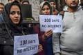 Kashmiri journalists protest against the internet blackout in Srinagar on November 12, 2019. Photo: AFP