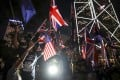 Hong Kong protesters wave the British and US national flags at a rally in Central on August 16. Photo: Winson Wong