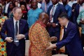 From left, former UN secretary general Ban Ki-moon, Ghanaian President Nana Akufo-Addo, and Alibaba founder Jack Ma at the first Africa Netpreneur Prize awards. Photo: Handout